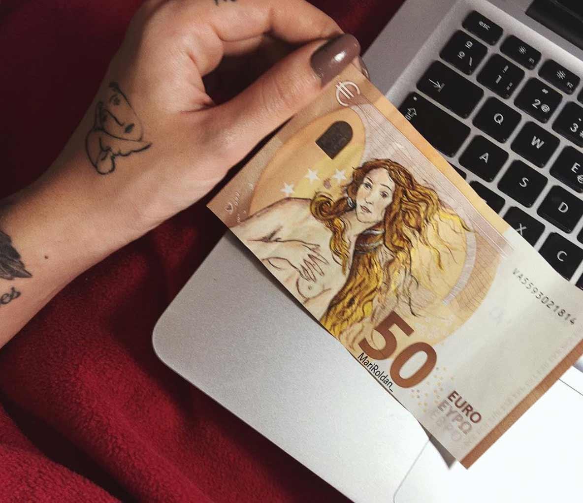 Gemälde auf Geldscheinen Mari-Roldan_06
