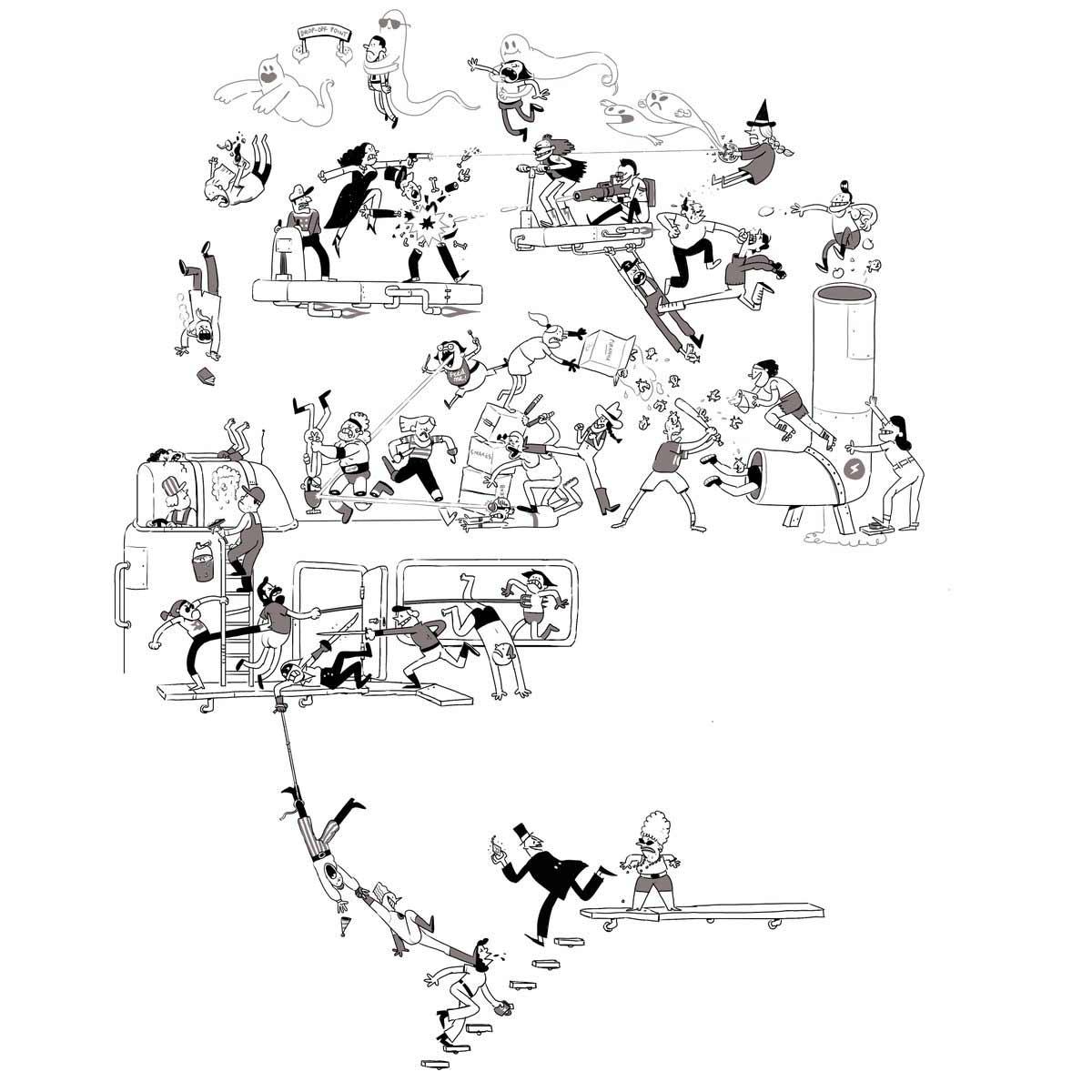 Jeden Tag wird diese Zeichnung einer Schlägerei um eine Figur erweitert Tom-Gran_schlaegerei-jeden-tag-eine-neue-figur_08