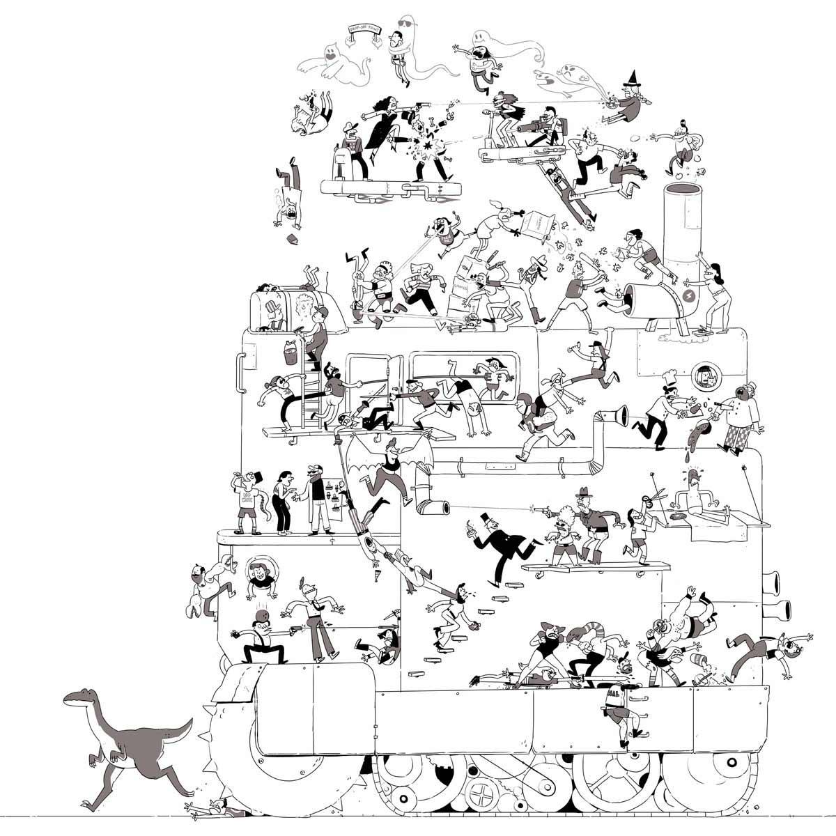 Jeden Tag wird diese Zeichnung einer Schlägerei um eine Figur erweitert Tom-Gran_schlaegerei-jeden-tag-eine-neue-figur_09