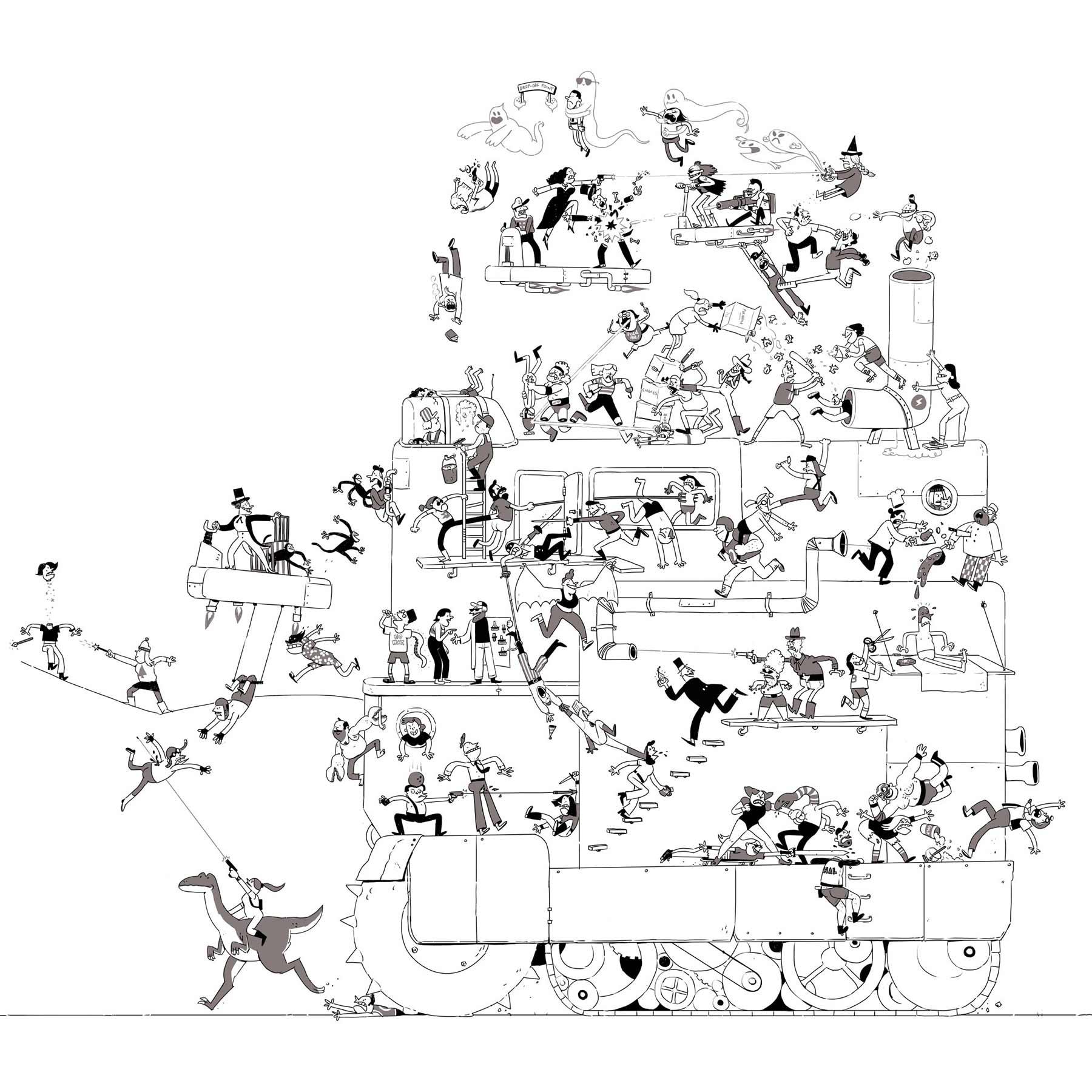 Jeden Tag wird diese Zeichnung einer Schlägerei um eine Figur erweitert Tom-Gran_schlaegerei-jeden-tag-eine-neue-figur_10