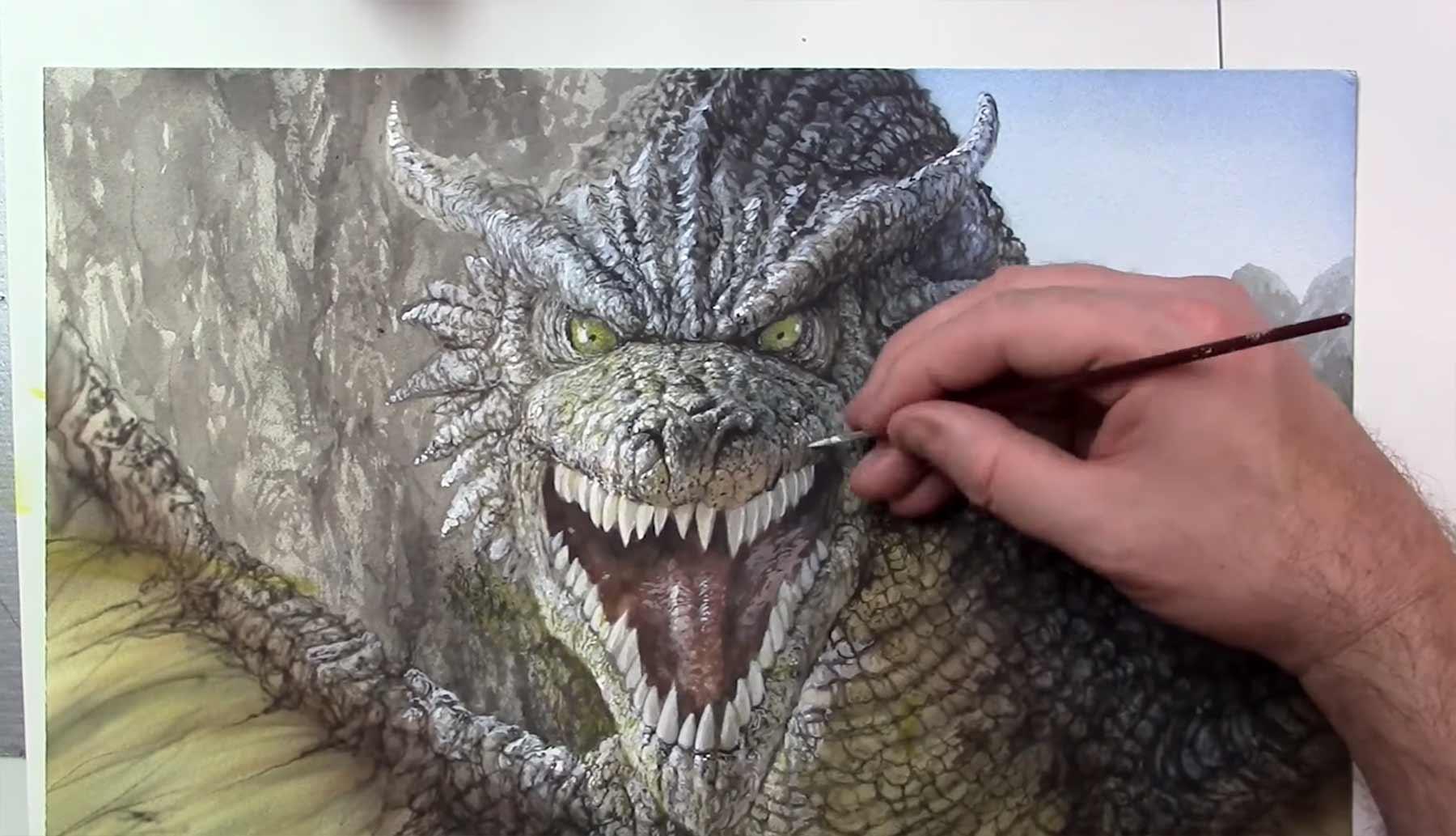 Speedpainting eines detailreichen Drachens dragon-speedpainting