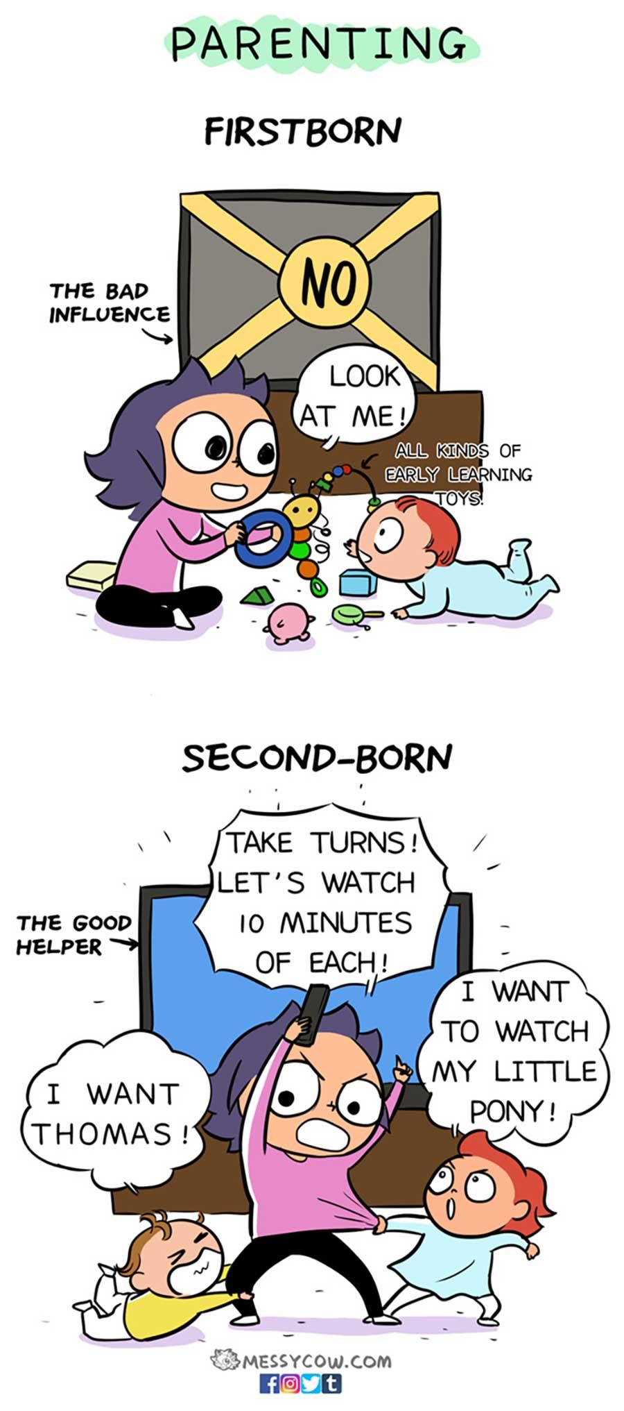 Erstes vs. zweites Kind erstgeborenes-vs-zweites-kind_messy-cow_08