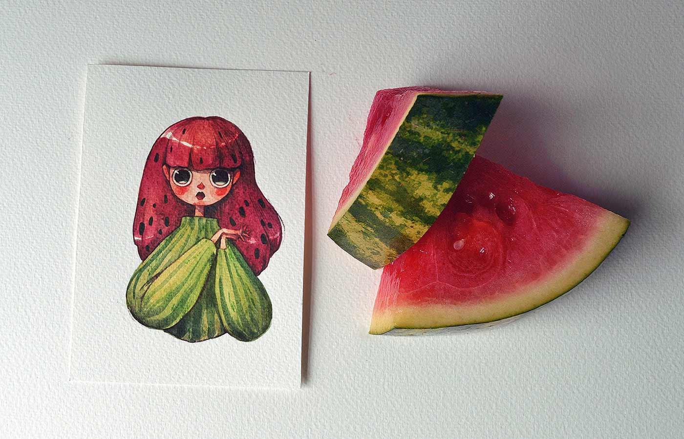 Früchte als Personen gezeichnet