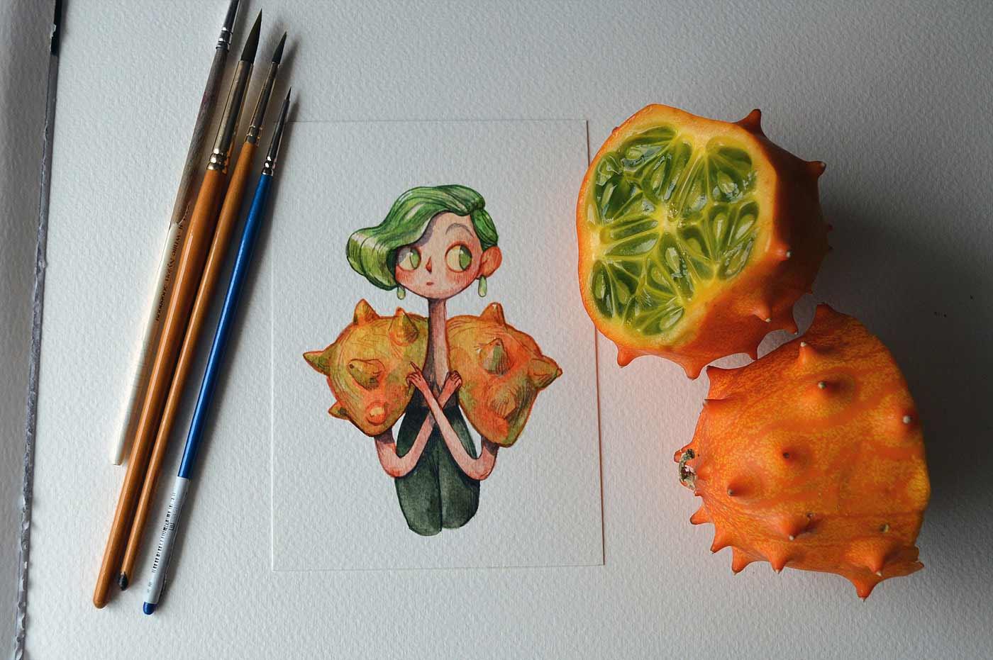 Früchte als Personen gezeichnet obst-als-personen-Marija-Tiurina_02