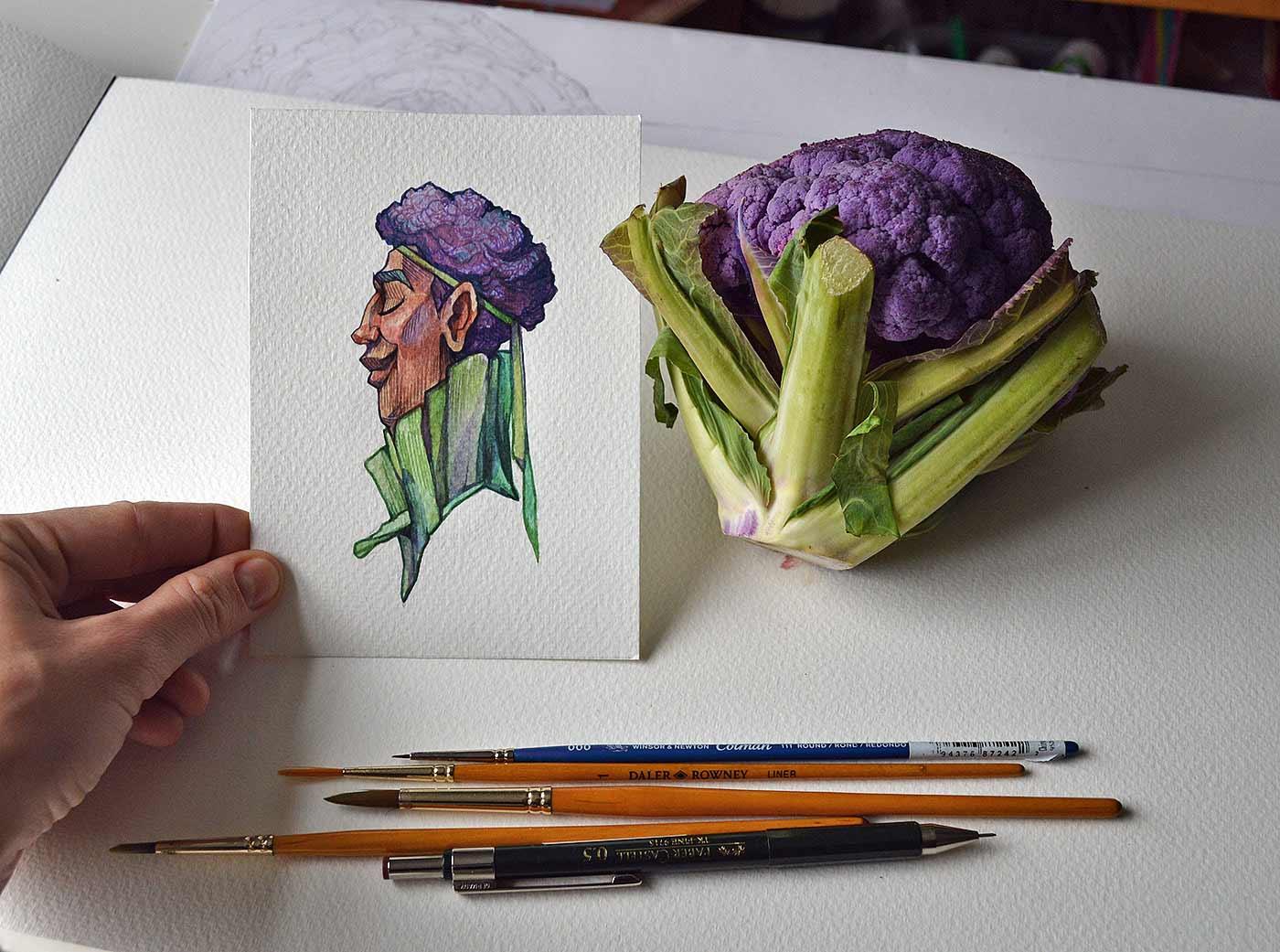 Früchte als Personen gezeichnet obst-als-personen-Marija-Tiurina_03