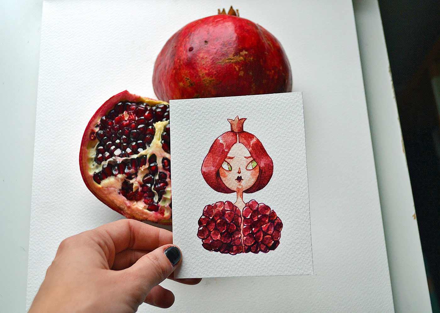 Früchte als Personen gezeichnet obst-als-personen-Marija-Tiurina_04