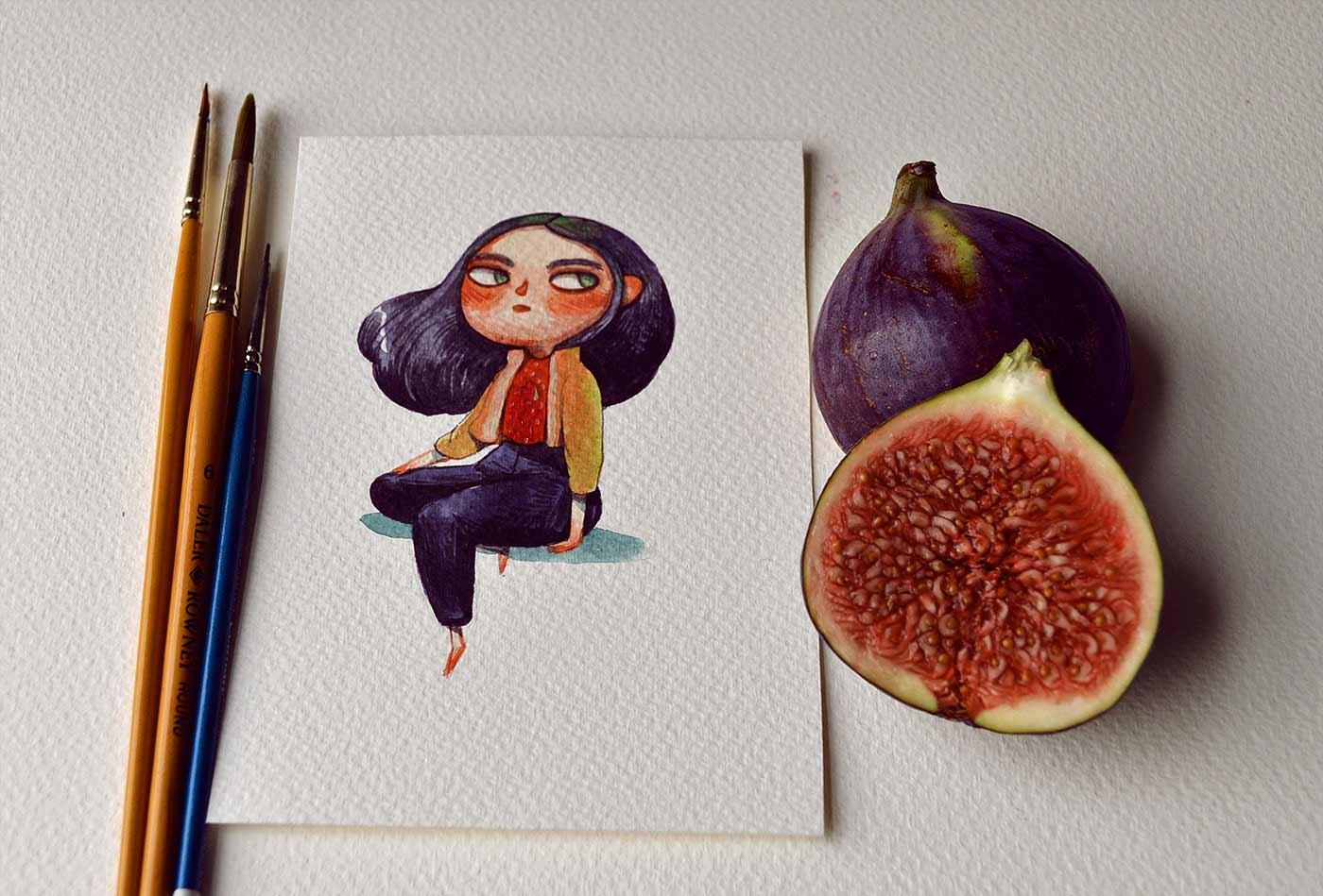 Früchte als Personen gezeichnet obst-als-personen-Marija-Tiurina_05