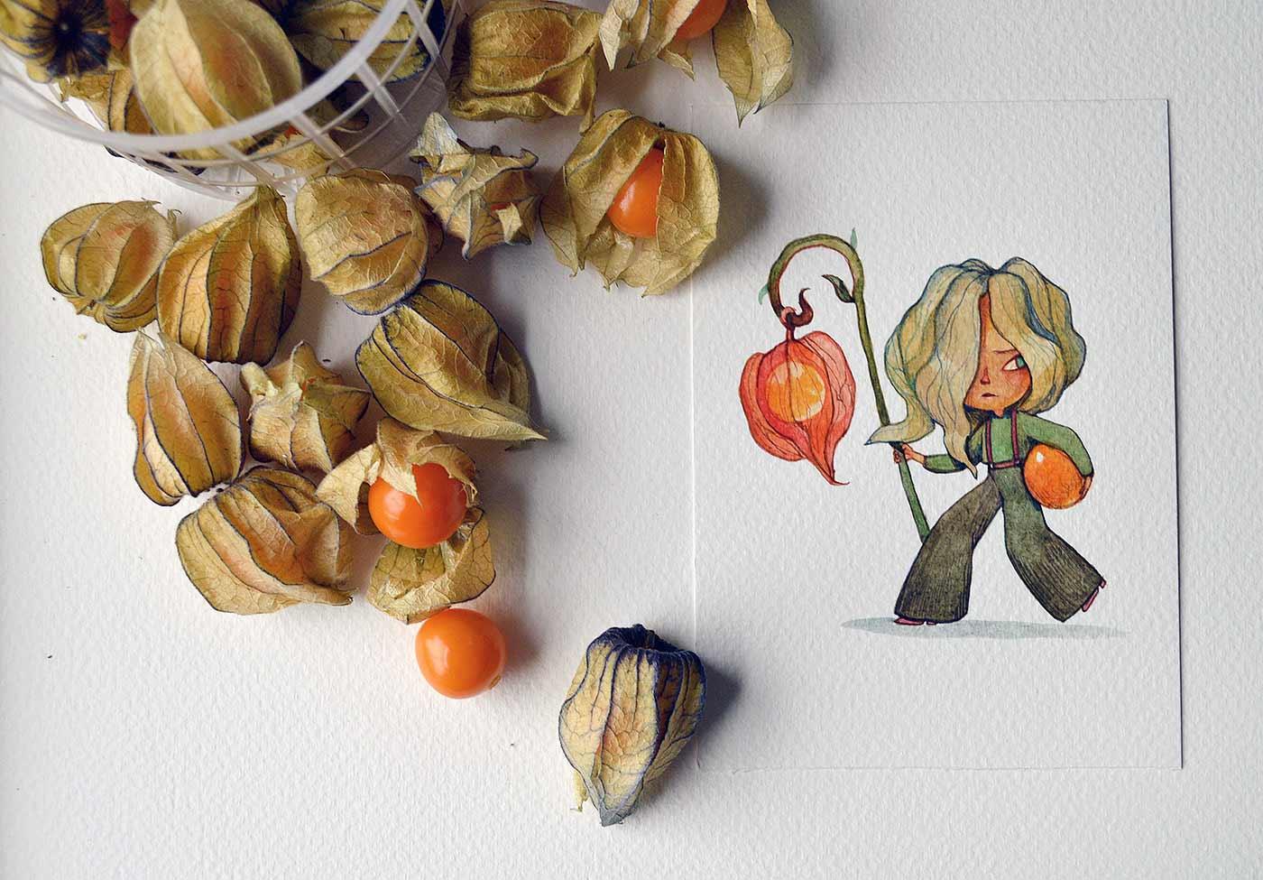 Früchte als Personen gezeichnet obst-als-personen-Marija-Tiurina_07