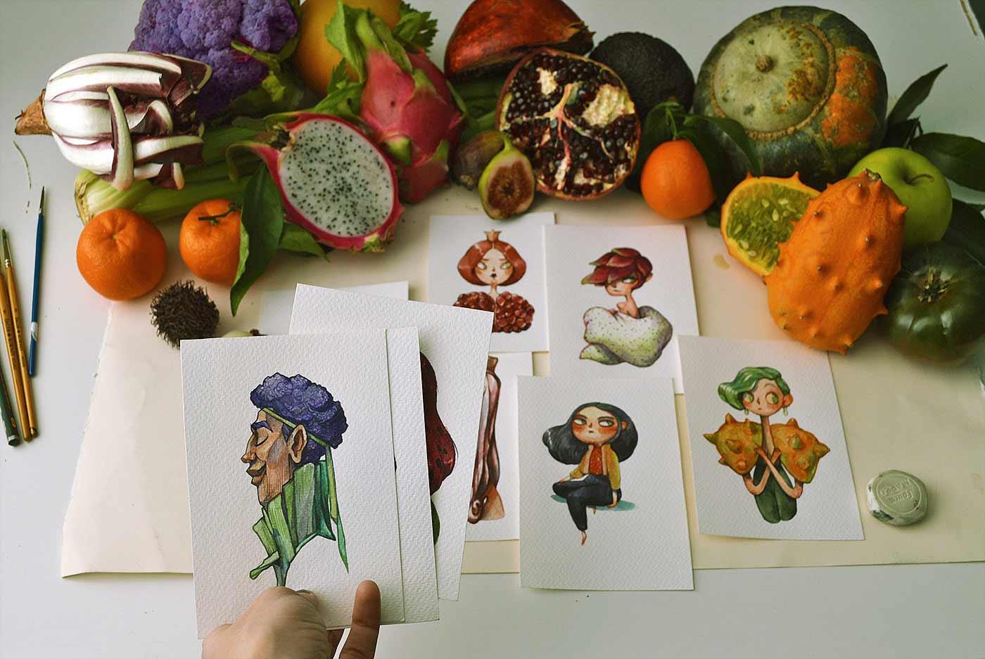 Früchte als Personen gezeichnet obst-als-personen-Marija-Tiurina_10