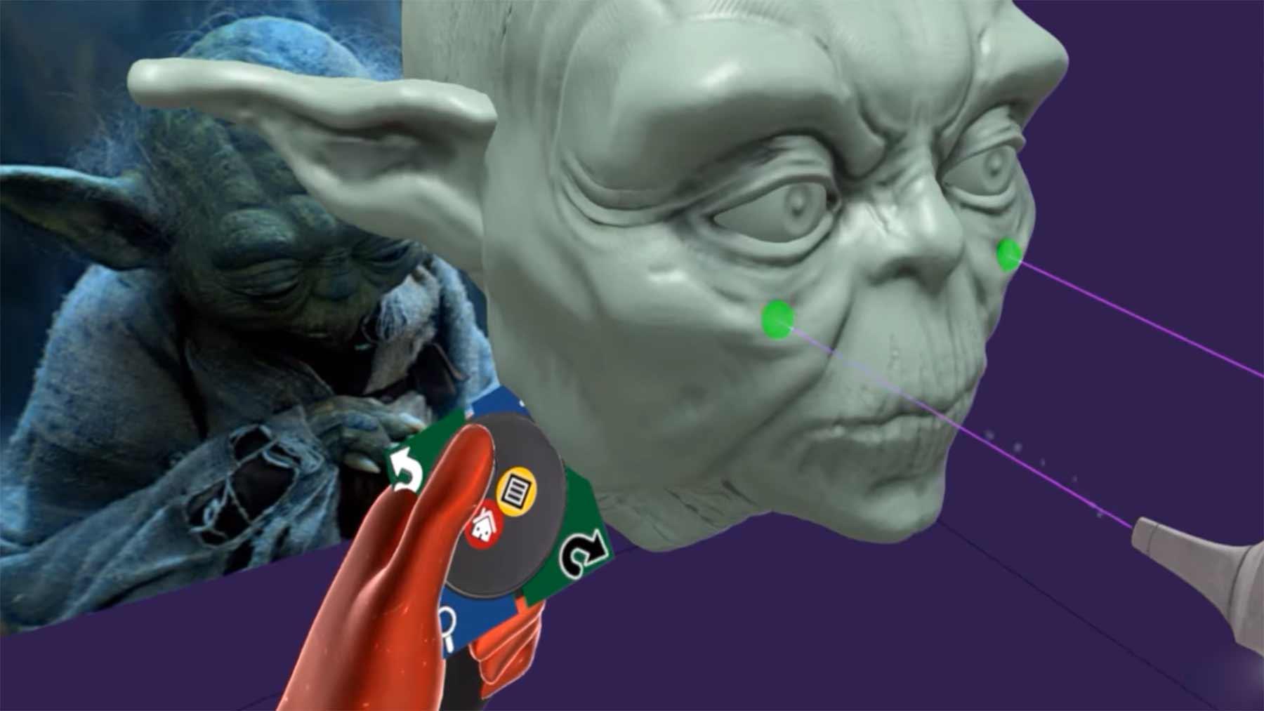 Timelapse: eine VR-Skulptur von Yodas Kopf erstellen