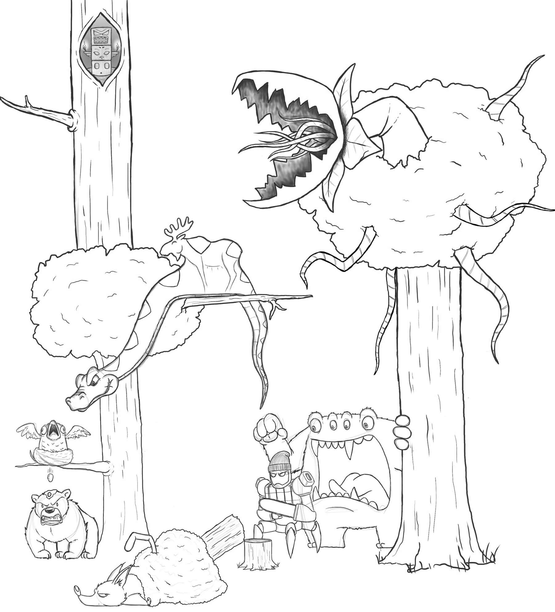 Eric Keledjian hat dieser Zeichnung jeden Tag eine Figur hinzugefügt Eric-Keledjian_19-tage-zeichnung_09