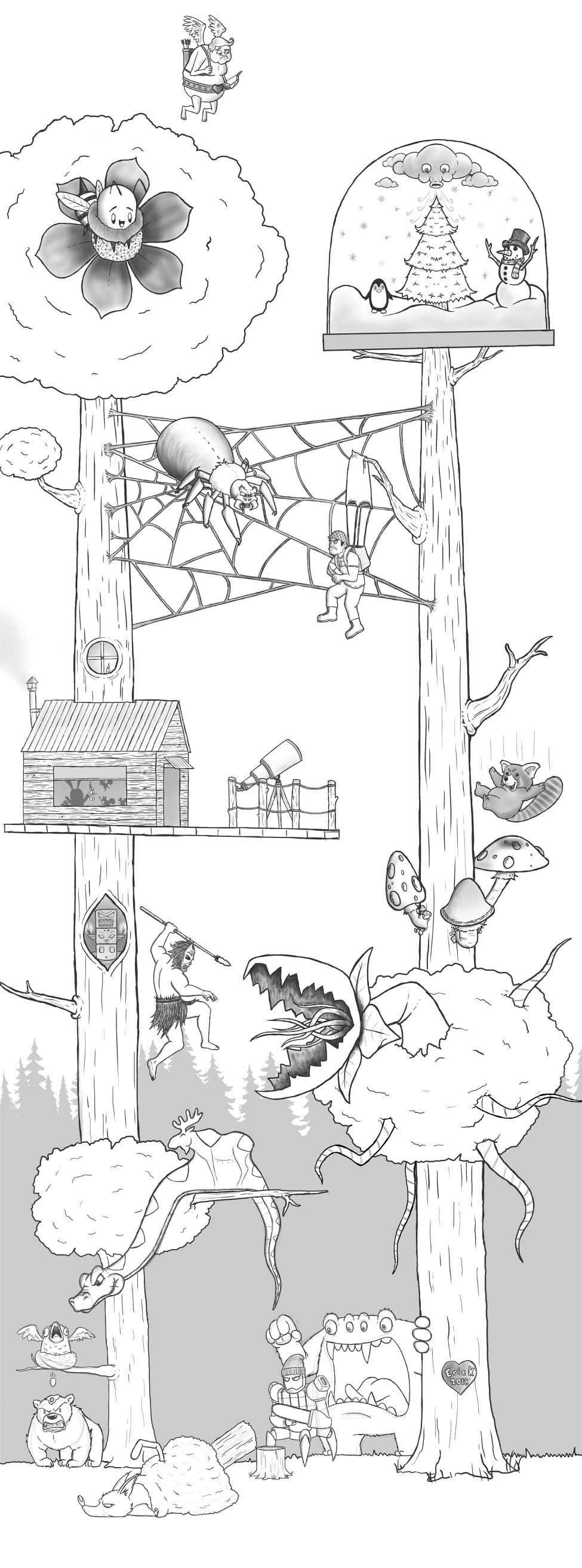 Eric Keledjian hat dieser Zeichnung jeden Tag eine Figur hinzugefügt Eric-Keledjian_19-tage-zeichnung_18