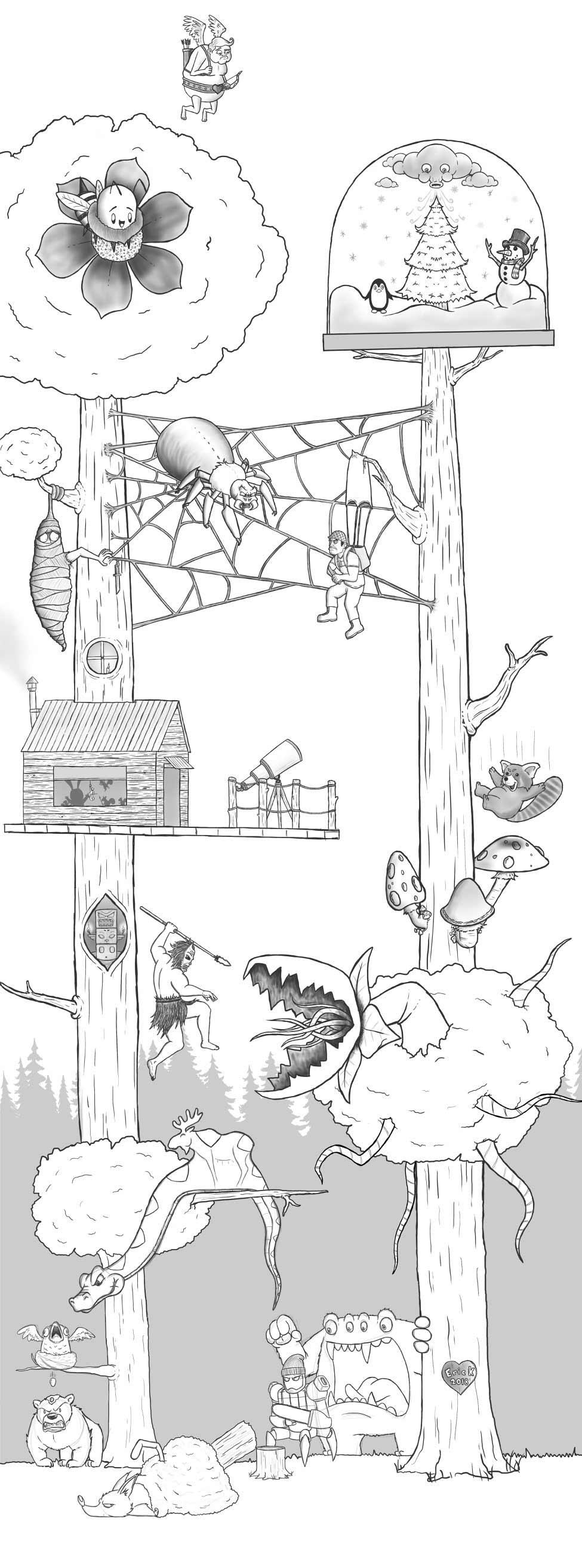 Eric Keledjian hat dieser Zeichnung jeden Tag eine Figur hinzugefügt Eric-Keledjian_19-tage-zeichnung_19