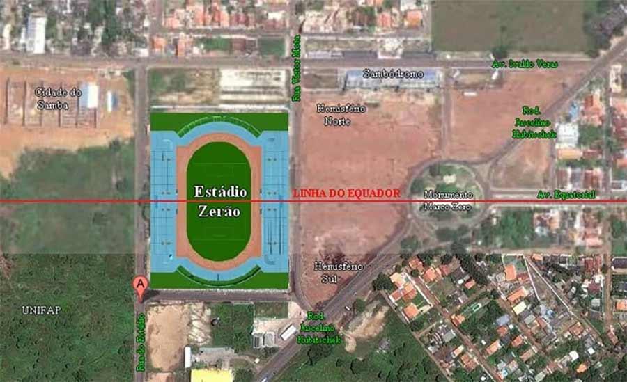 Die Mittellinie dieses Fußballstadions liegt exakt auf dem Äquator Estadio-Zerao_01