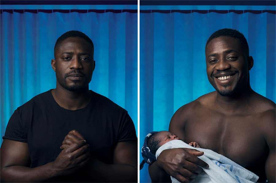 Portraits von Vätern vor und nach der Geburt ihres Kindes
