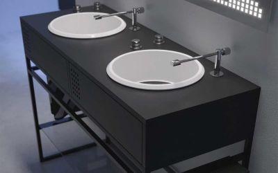 Waschbecken im Plattenspieler-Design