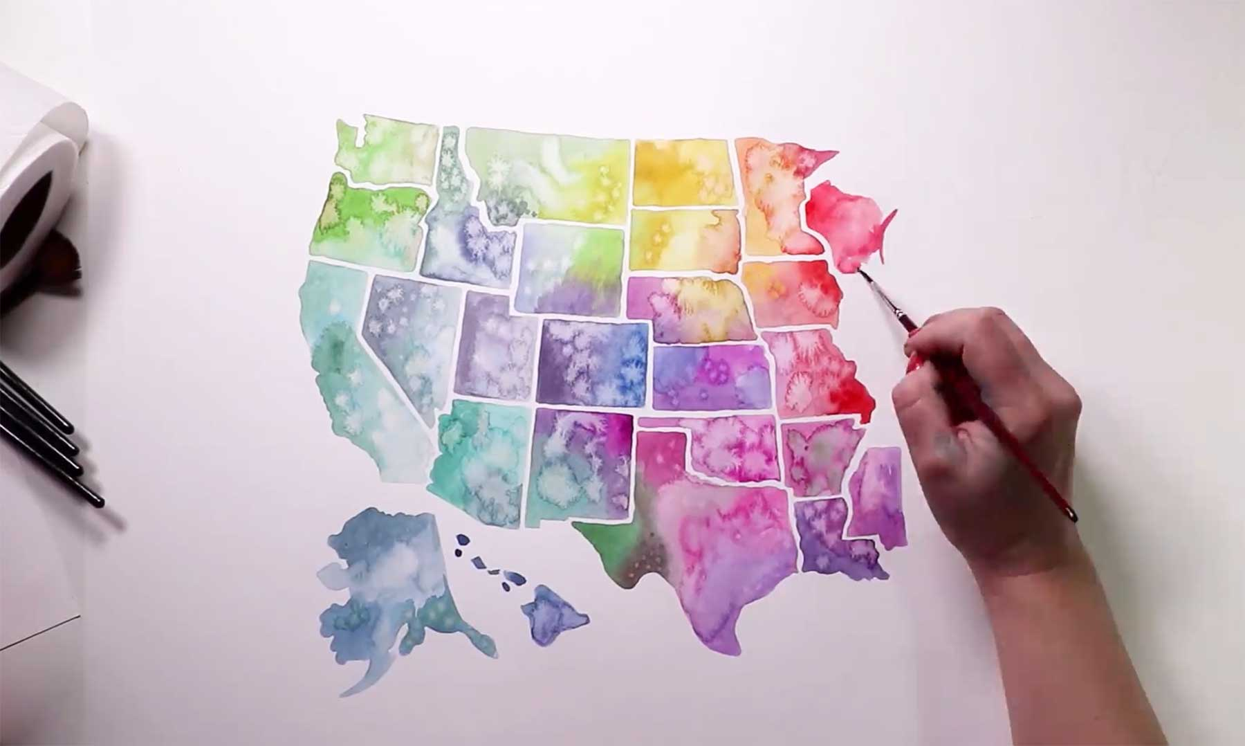 Speedpainting der USA in Wasserfarbe
