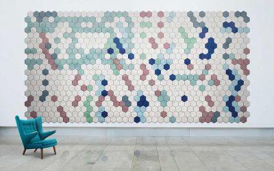 Schallschutz-Mosaik-Kacheln aus Holzwolle