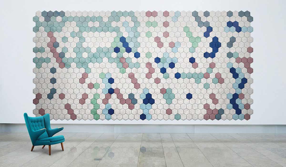Schallschutz-Mosaik-Kacheln aus Holzwolle BAUX-TILES-HEXAGON_01