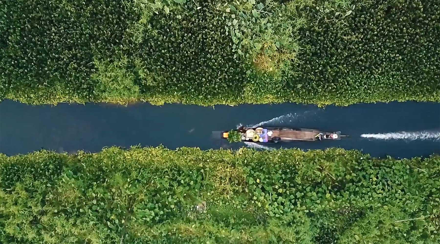 Luftaufnahmen vom Inle Lake in Myanmar