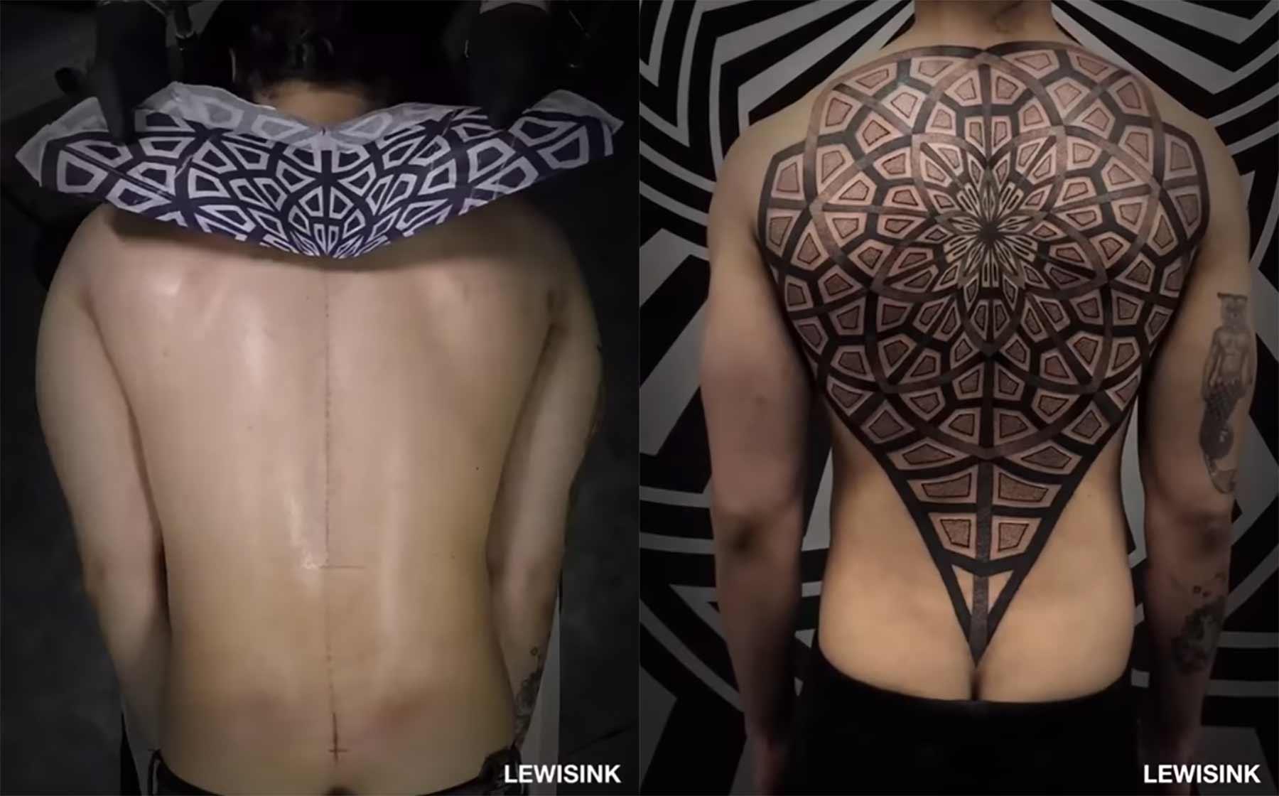 Stechen eines rückenfüllenden Tattoos im Zeitraffer