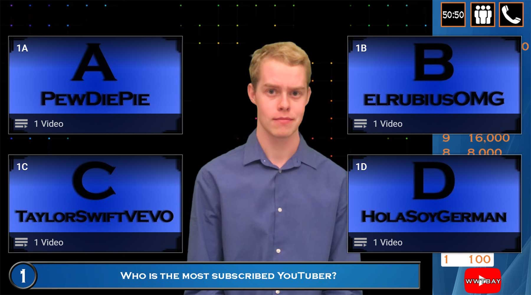 """Wer wird Millionär?"" in YouTube mit 1.162 Einzelvideos spielen who-wants-to-be-a-youtuber"