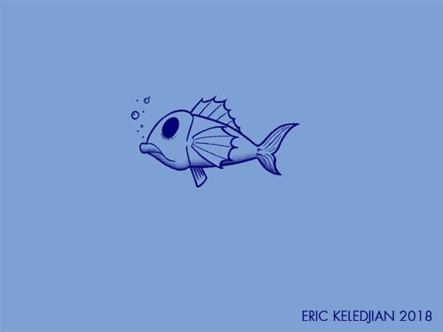 Eric Keledjian hat dieser Unterwasser-Zeichnung jeden Tag eine Figur hinzugefügt