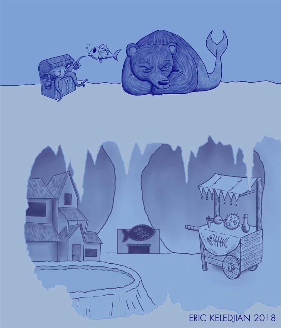 Eric Keledjian hat dieser Unterwasser-Zeichnung jeden Tag eine Figur hinzugefügt Eric-Keledjian-unterwasser-Zeichnung_04