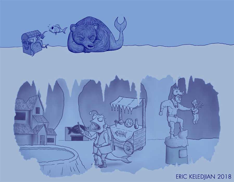 Eric Keledjian hat dieser Unterwasser-Zeichnung jeden Tag eine Figur hinzugefügt Eric-Keledjian-unterwasser-Zeichnung_06