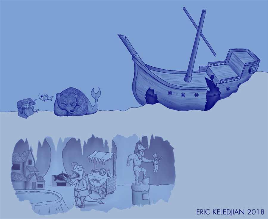 Eric Keledjian hat dieser Unterwasser-Zeichnung jeden Tag eine Figur hinzugefügt Eric-Keledjian-unterwasser-Zeichnung_07