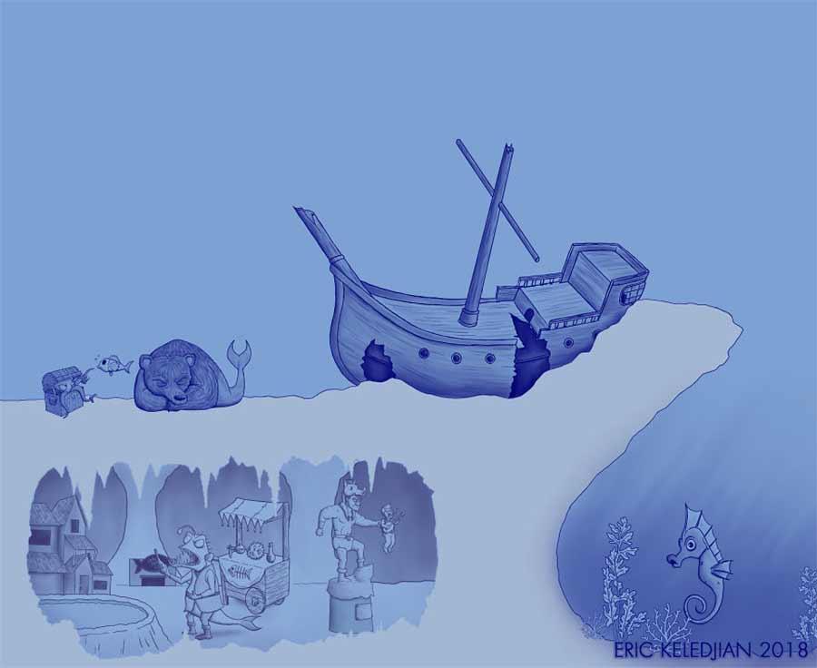 Eric Keledjian hat dieser Unterwasser-Zeichnung jeden Tag eine Figur hinzugefügt Eric-Keledjian-unterwasser-Zeichnung_08