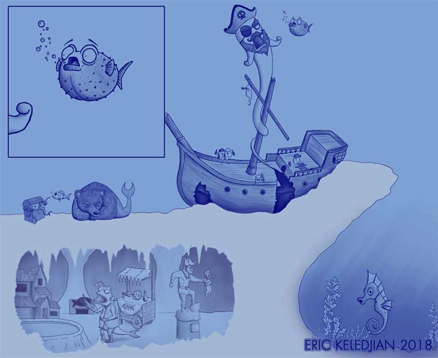 Eric Keledjian hat dieser Unterwasser-Zeichnung jeden Tag eine Figur hinzugefügt Eric-Keledjian-unterwasser-Zeichnung_10