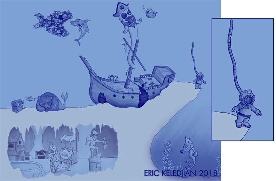 Eric Keledjian hat dieser Unterwasser-Zeichnung jeden Tag eine Figur hinzugefügt Eric-Keledjian-unterwasser-Zeichnung_13