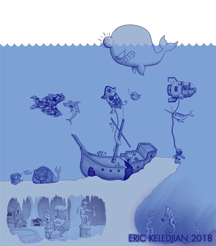 Eric Keledjian hat dieser Unterwasser-Zeichnung jeden Tag eine Figur hinzugefügt Eric-Keledjian-unterwasser-Zeichnung_16