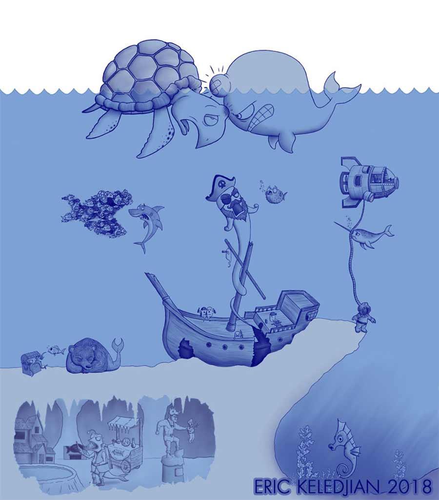 Eric Keledjian hat dieser Unterwasser-Zeichnung jeden Tag eine Figur hinzugefügt Eric-Keledjian-unterwasser-Zeichnung_17