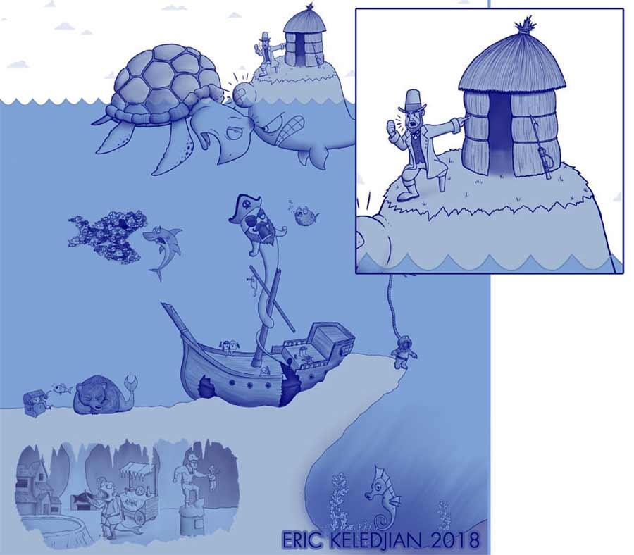 Eric Keledjian hat dieser Unterwasser-Zeichnung jeden Tag eine Figur hinzugefügt Eric-Keledjian-unterwasser-Zeichnung_18