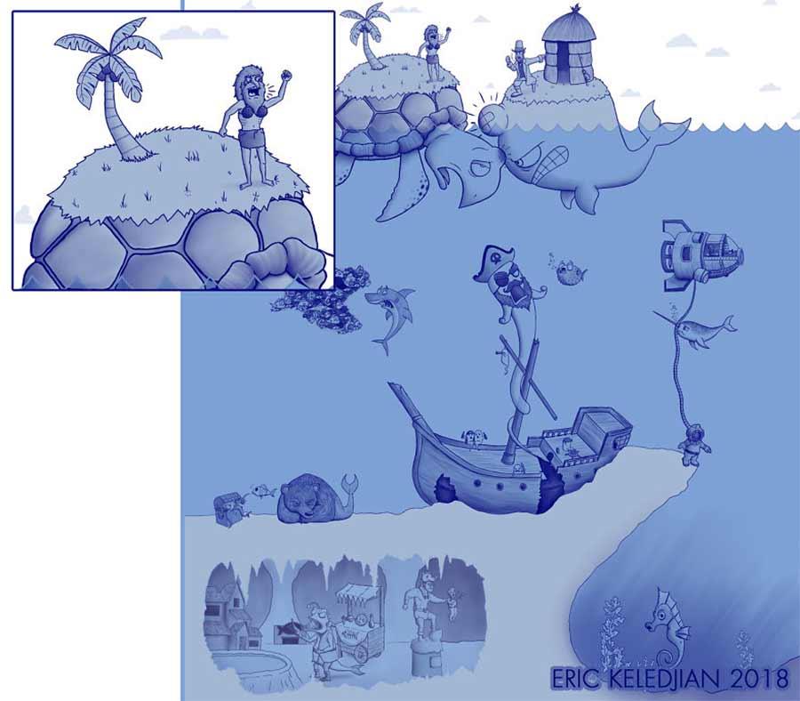 Eric Keledjian hat dieser Unterwasser-Zeichnung jeden Tag eine Figur hinzugefügt Eric-Keledjian-unterwasser-Zeichnung_19