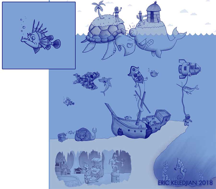 Eric Keledjian hat dieser Unterwasser-Zeichnung jeden Tag eine Figur hinzugefügt Eric-Keledjian-unterwasser-Zeichnung_20