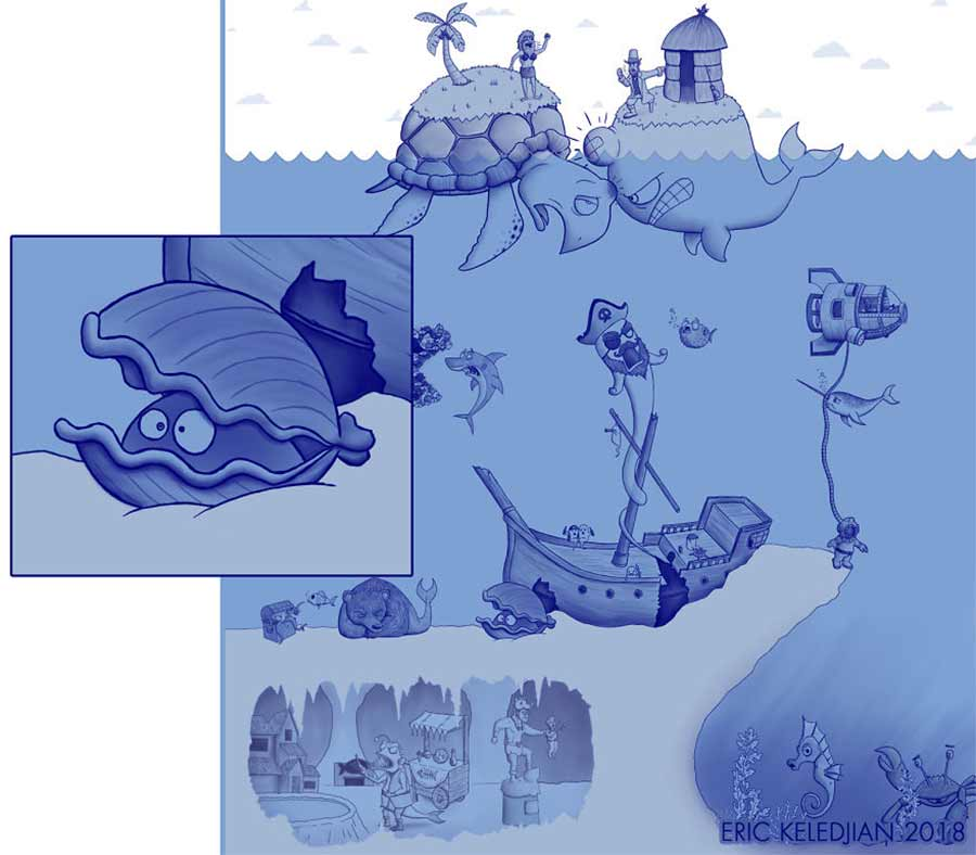 Eric Keledjian hat dieser Unterwasser-Zeichnung jeden Tag eine Figur hinzugefügt Eric-Keledjian-unterwasser-Zeichnung_22