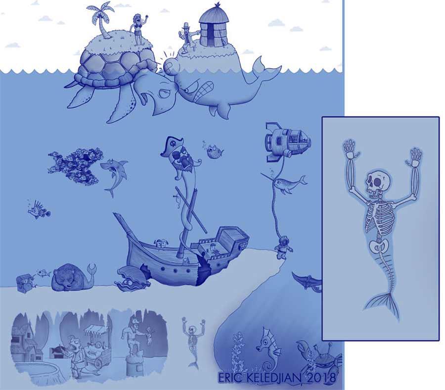 Eric Keledjian hat dieser Unterwasser-Zeichnung jeden Tag eine Figur hinzugefügt Eric-Keledjian-unterwasser-Zeichnung_24