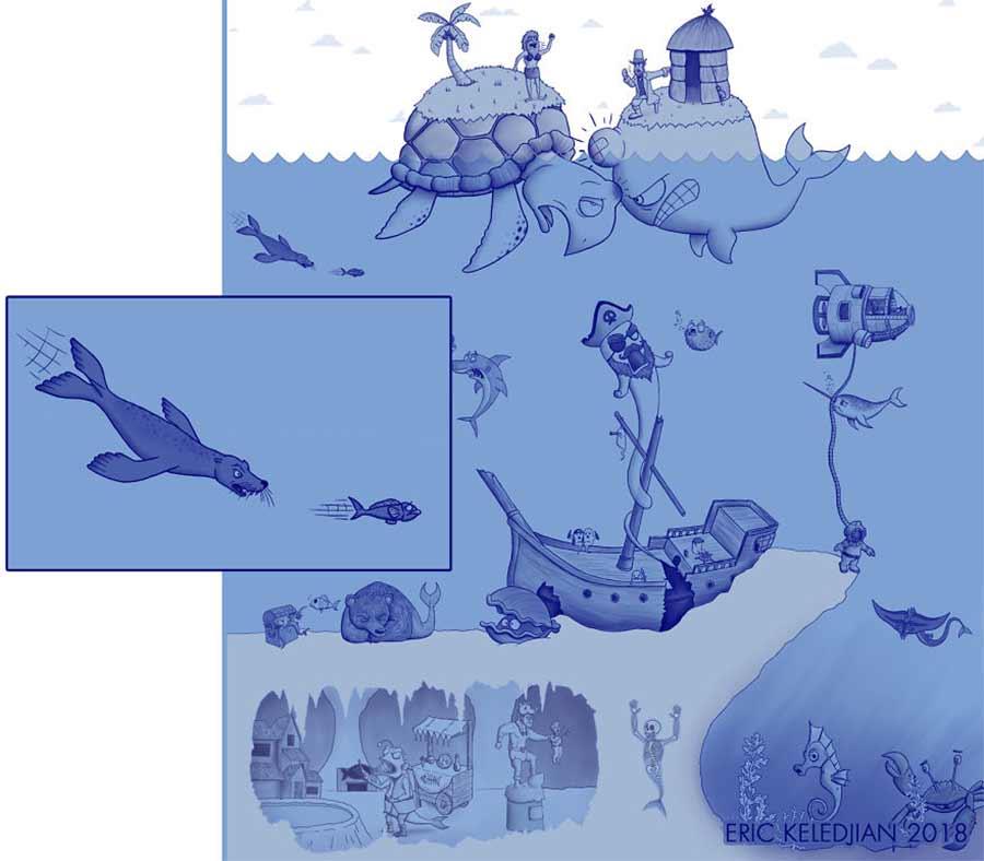Eric Keledjian hat dieser Unterwasser-Zeichnung jeden Tag eine Figur hinzugefügt Eric-Keledjian-unterwasser-Zeichnung_25