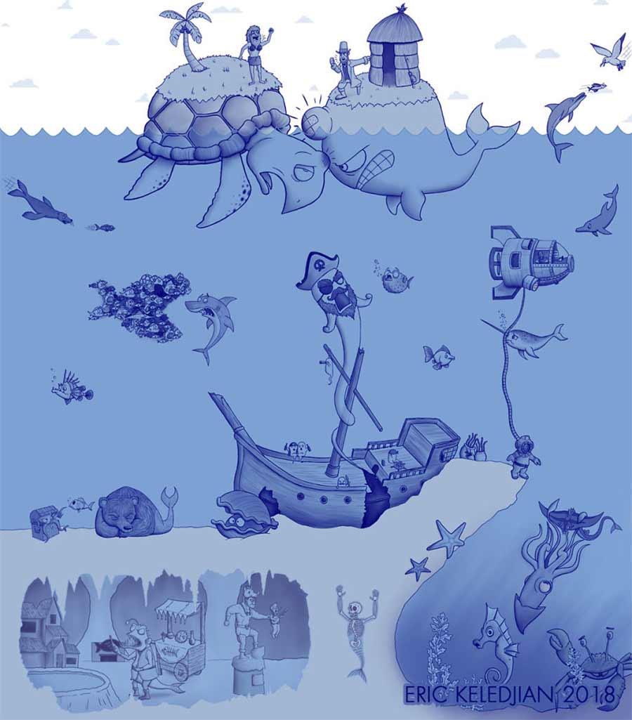 Eric Keledjian hat dieser Unterwasser-Zeichnung jeden Tag eine Figur hinzugefügt Eric-Keledjian-unterwasser-Zeichnung_29