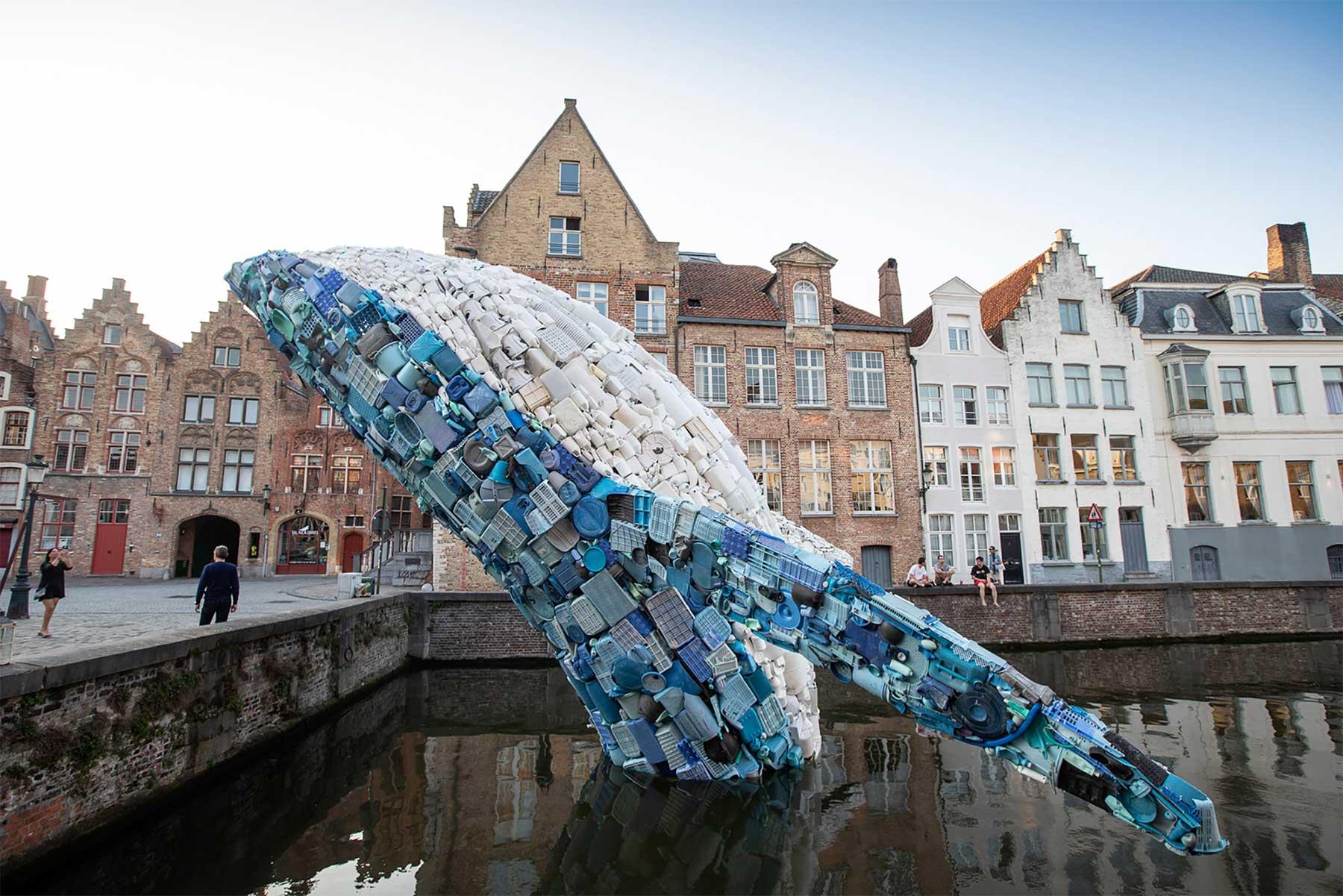 In Brügge steigt ein 11,5 Meter großer Wal aus Plastikmüll empor