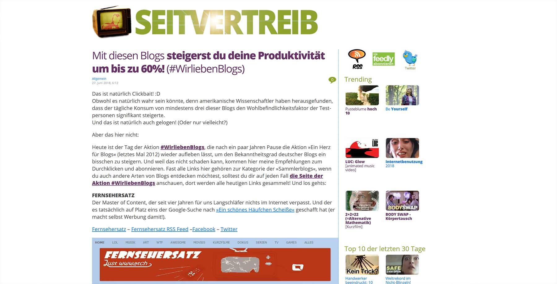 #WirliebenBlogs: Diese Websites solltet ihr euch mal anschauen WirliebenBlogs_02_seitvertreib