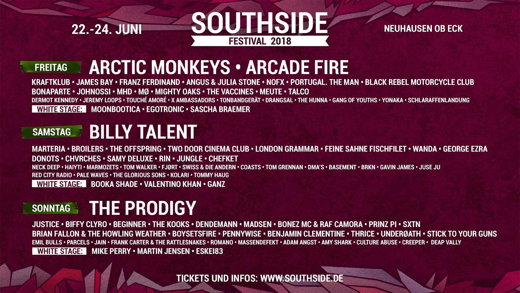 Ich verlose 2x2 Tickets für das Southside Festival 2018 southside-festival-2018-lineup