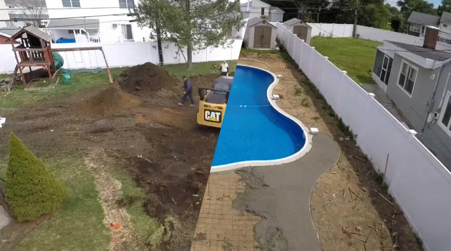 Bau eines Swimming Pools im Zeitraffer