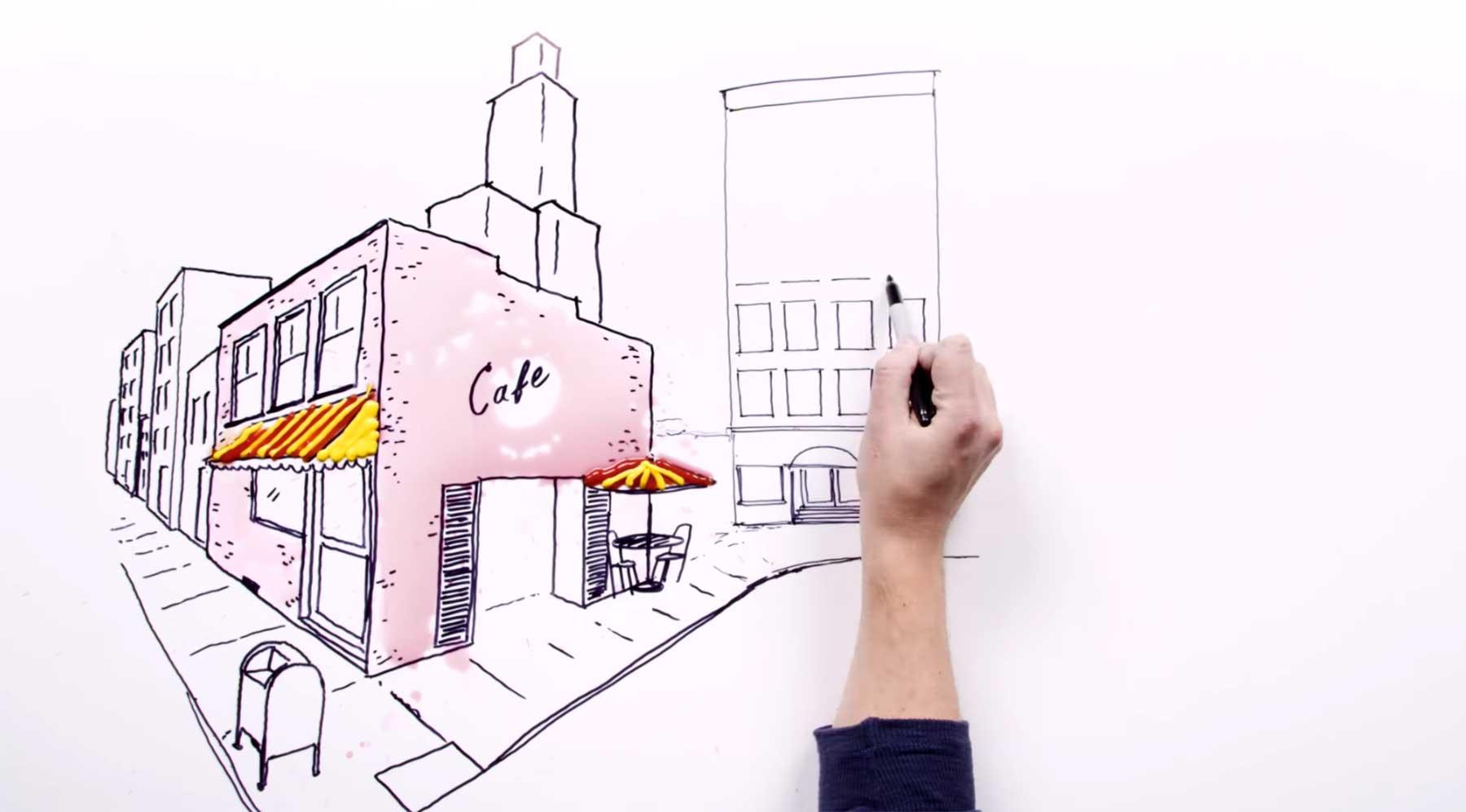 Urbane Tischmalerei im Zeitraffer und mit einem Trick