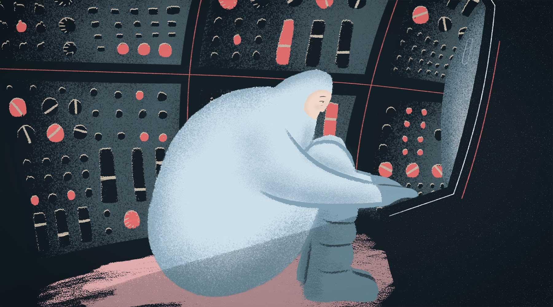 Einsamer Astronaut auf der Suche nach Gesellschaft