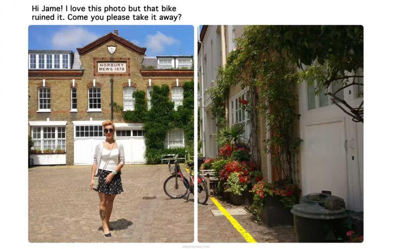 Kannst du bitte das Fahrrad aus dem Bild nehmen?