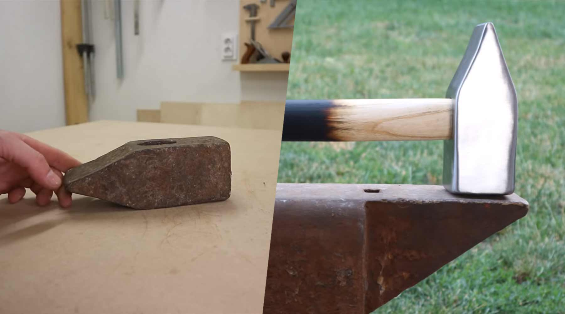 Einen verrosteten alten Hammer auf Hochglanz bringen